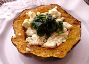 Stuffed Roasted Acorn Squash with Garlicky Spinach and Feta Cheese